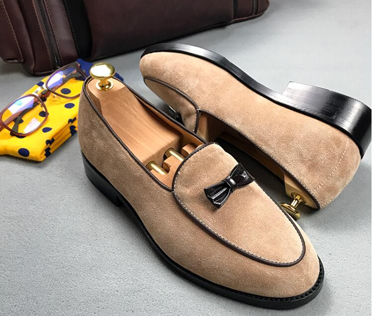 Loafers shoes men slip on bowtie genuine leather suede flast summer moccasins smart casual shoes shallow vintage flats loafer black real leather 2017 mules summer brown european loafers men genuine shoes moccasins half male casual slip ons hot sale