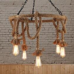 Loft Nordic retro corda di Canapa luce del pendente Americano paese negozio di abbigliamento Cafe appendere lampada 110-240 v