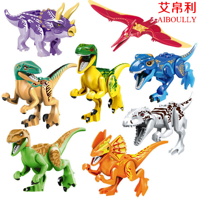 New Dazzle colour 8pcs Jurassic World  figures Dinosaur Bricks Figures Blocks Super Heroes baby toys Compatible with lepin 2 sets jurassic world tyrannosaurus building blocks jurrassic dinosaur figures bricks compatible legoinglys zoo toy for kids