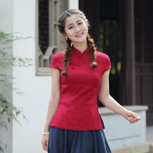 Hot Sale Red Traditional Chinese Blouse Womens Cotton Linen Shirt Tops Short Sleeves tang Clothing Size S M L XL XXL XXXL 2518-6