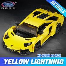 MOC XingBao 03008 Bloque 924 Unids Creativo Serie Técnica El Amarillo Flash de Carreras de Coches Juego Educativo Bloques de Construcción de Ladrillos de Juguete