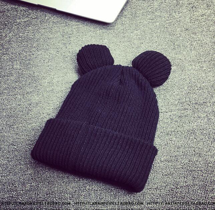 500pcs/lot Female Winter Caps Hats For Women Devil Horns Ear Cute Crochet Braided Knit Beanies Hat Warm Cap Hat