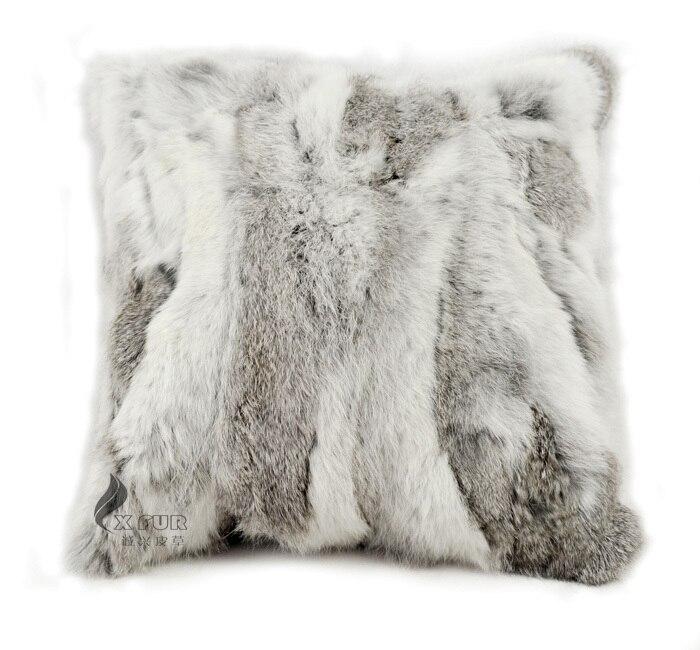 free shipping cx d 17a natural rabbit fur cushion cover pillow case housse de coussin cojines navidad home decorative pillowcase