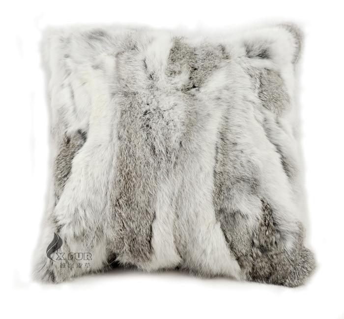 free shipping cxd17a real natural rabbit fur cushion cover fur pillow