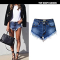 2017 Summer women brand clothing high waist pure cotton denim shorts lady casual tassel washed sraight short jeans TPS200#