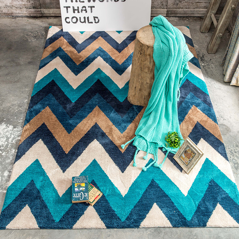 American Style Geometric Blue Mixed Color Living Room Carpet 160200cm Bedside Ground Mat