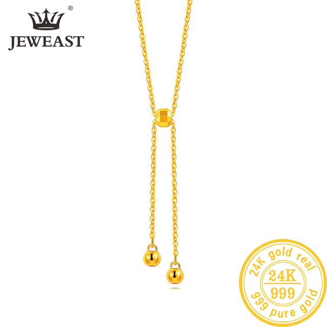 BTSS 24K Pure Gold Necklace Real AU 999 Solid Gold Chain Beautiful Leaf Upscale Trendy Classic Fine Jewelry Hot Sell New 2020 1