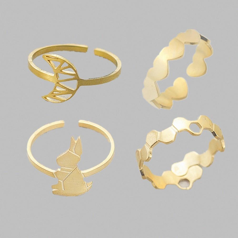 DIANSHANGKAITUOZHE Stainless Steel Golden Simple Trinket Rings Set Women Origami Rabbit Mo