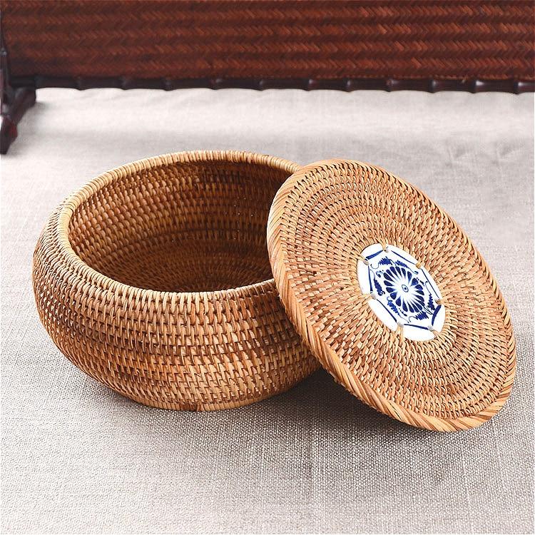 Rotin boîte de rangement avec couvercle rond tissé à la main organisation boîte à bijoux haute qualité boîte à thé cadeau artisanat cuisine petit panier