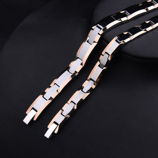 Tungsten Steel Rose Gold Plated Magnetic Health Care