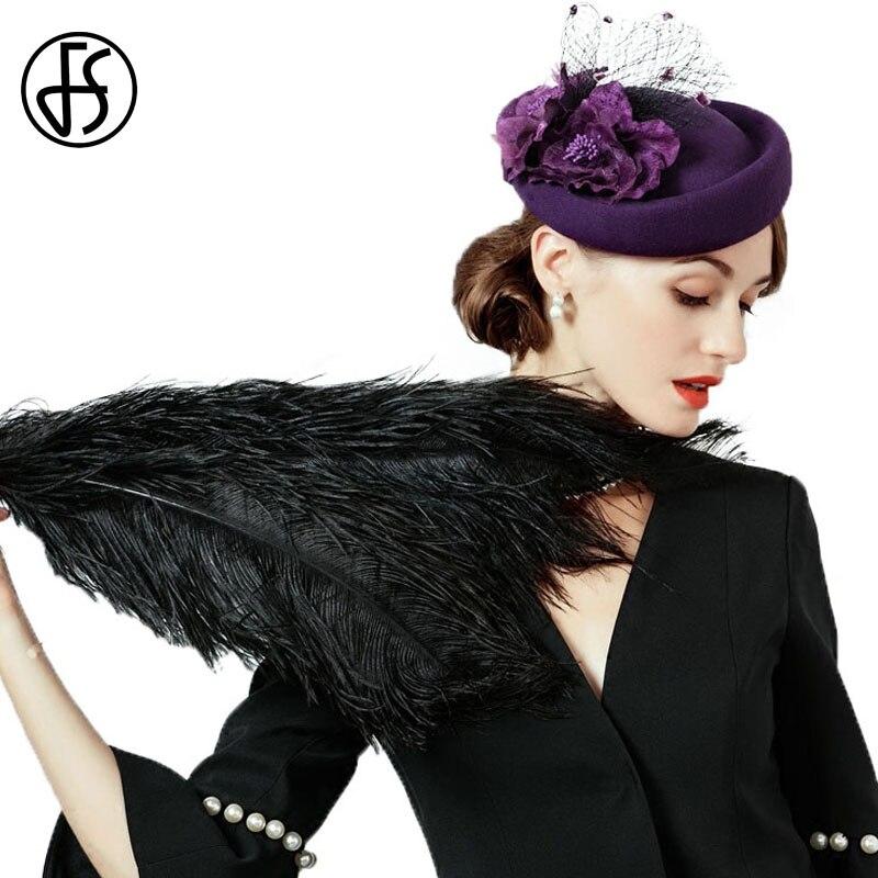 FS Fascinator 100% lana sombrero señoras sombreros boda púrpura elegante  fieltro sombreros para las mujeres mujer flores negro Derby tapa 1716130465f