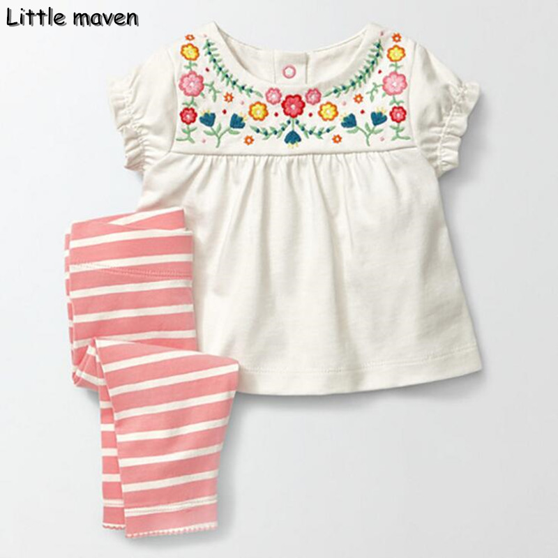 Little maven brand children clothing 2017 new summer baby girls clothes cotton Embroidered flowers children s