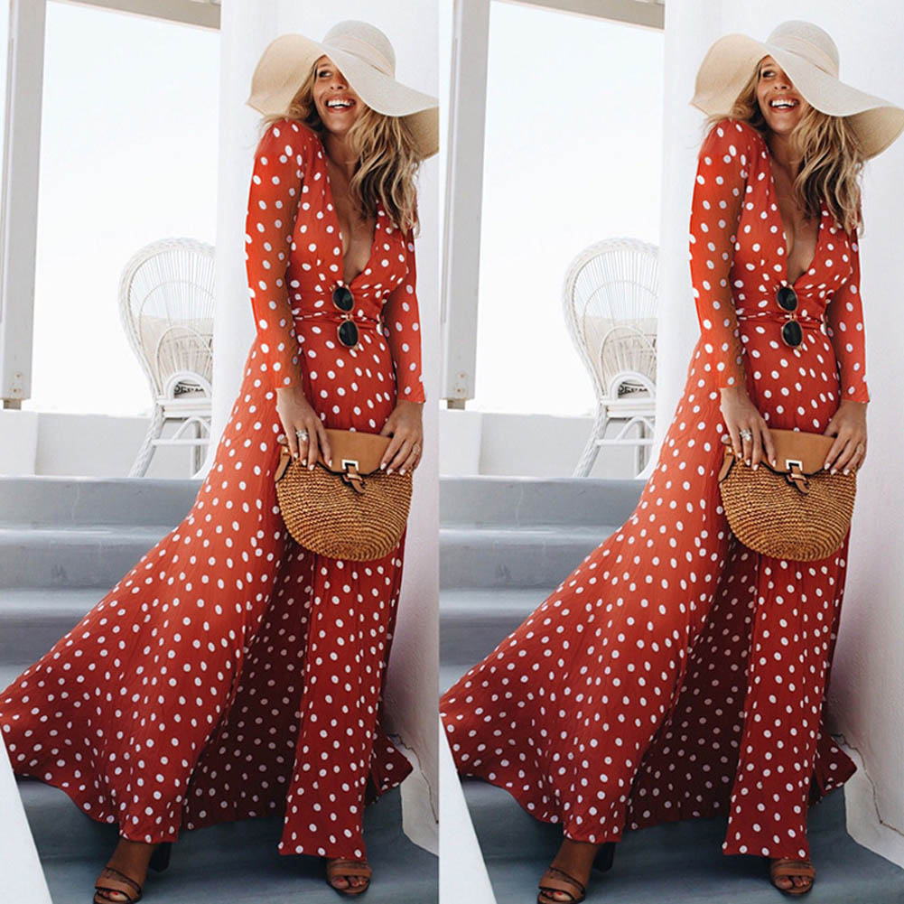 Red Dress New Fall Sexy Womens Holiday Polka Dots Slit Ladies Bohemian Sashes Maxi Long Sleeve High Split Printed Autumn Dress 1