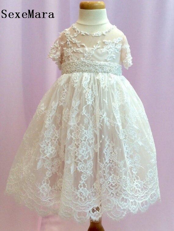Nouveauté robe de baptême blanche ivoire de luxe robe de baptême bébé fille dentelle perlée ceinture infantile filles tenue avec ruban