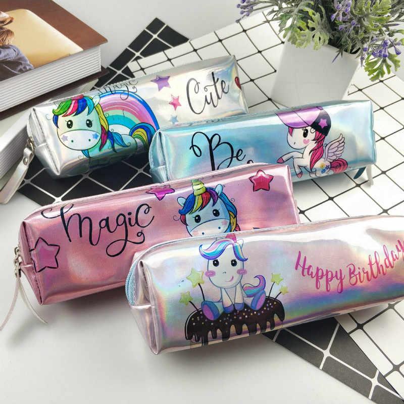 1 adet/satış Kawaii cadılar bayramı kalem kutusu yanardöner lazer güzel pembe Unicorn desen okul malzemeleri kırtasiye noel hediyesi