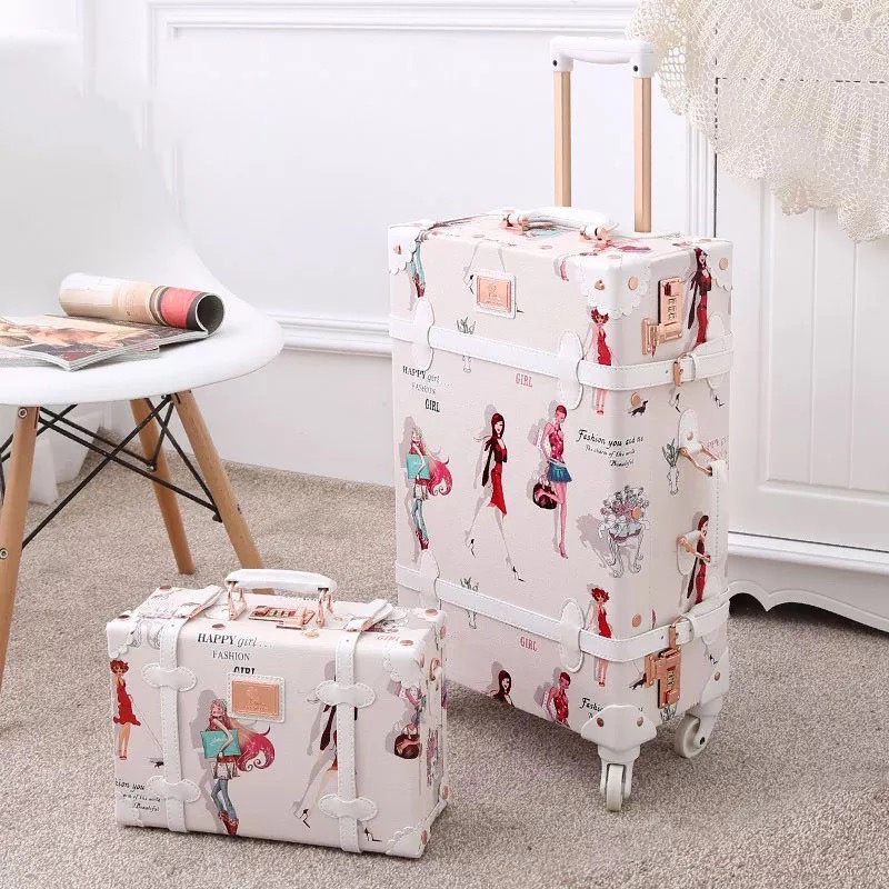 Popular Retro handmade set rolling luggage with cosmetic case girl cute travel trolley suitcase women fashion