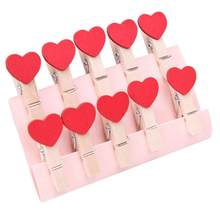 Wholesale 10pcs/lot Small Size 35mm Mini Natural Wooden Clips For Photo Clips Clothespin Craft Decoration Heart Shape Clips Peg(China)