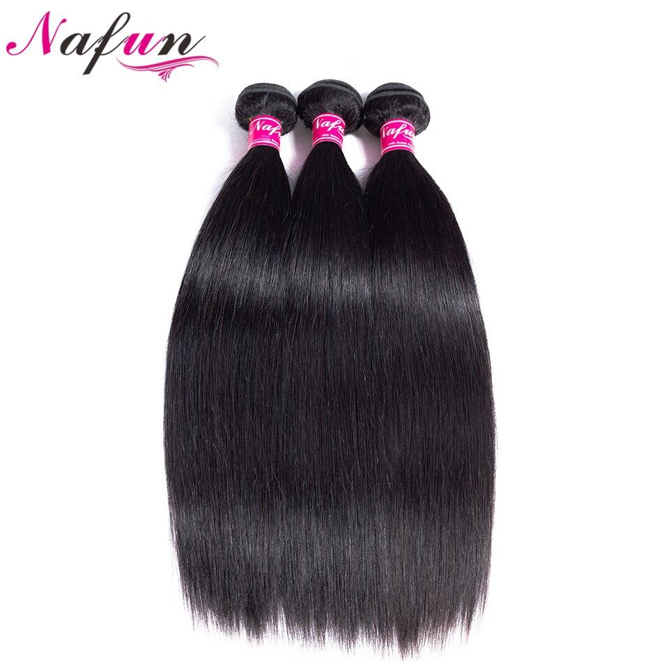 NAFUN Hair Brazilian Human Hair 3 PCS Bundles Straight Hair Weave Natural Color Non Remy Human Hair Extensions