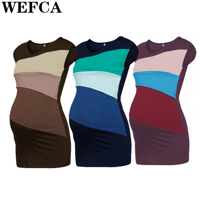 Maternity Clothes Pregnancy Nursing T-shirts Nursing Breastfeeding Sleeveless Tops Summer Patchwork Tees For Pregnant Women