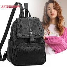 2019 New Fashion Women Backpack Female Vintage Leather Teenager Girls School Bags Designer Brand Shoulder Travel Backbag Mochila