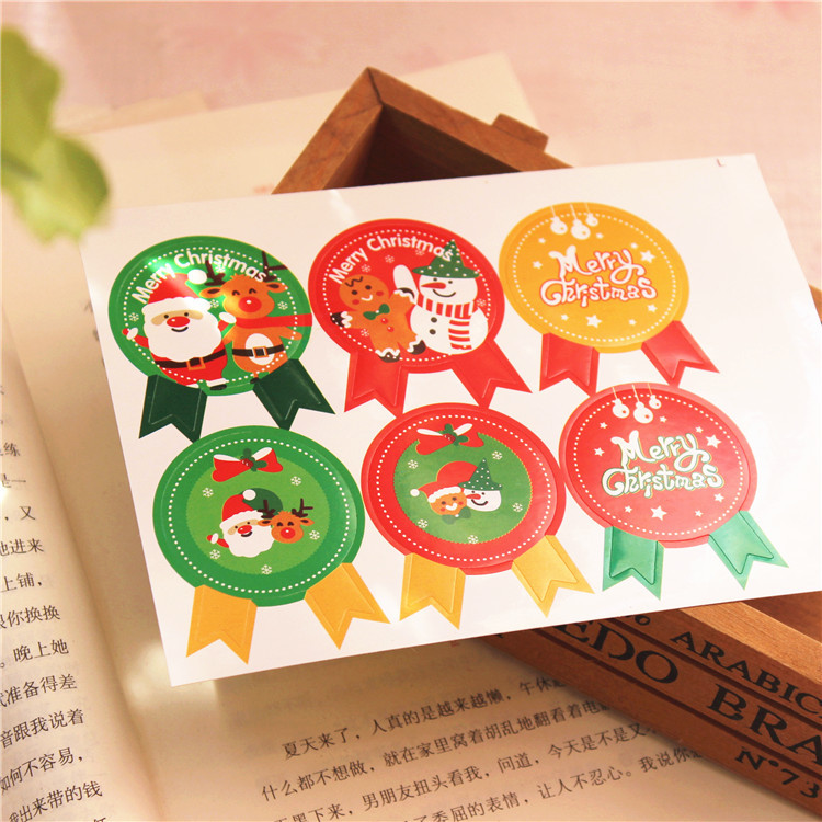 6pcs/sheet Merry Christmas Snowman Badge Kraft Paper Sticker Labels Seal Envelope Gift Box Wrapping Soap Craft Baking Decoration