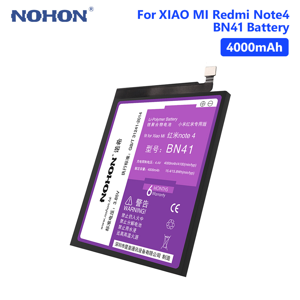 NOHON BN41 Lithium 4000mAh Rechargeable Battery For Xiaomi Redmi Note 4 4X MTK Helio X20 Phone Batteries Free Tools in Mobile Phone Batteries from Cellphones Telecommunications