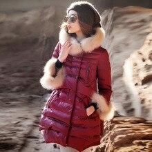 Модная зимняя женская куртка в европейском стиле, высокое качество, 90% белый утиный пух, роскошная парка с воротником из лисьего меха, пальто с капюшоном, WUJ0793