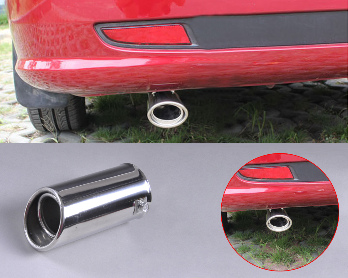 DWCX 2x 63mm 304 Stainless Steel Chrome Car Exhaust Tail Muffler Rear End Tip Pipe for <font><b>Subaru</b></font> Forester 2008 2009 2010 2011 2012 image