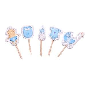 Image 5 - 12 teile/satz Transparent Kunststoff Feeder Flasche Candy Box Nette Blau/rosa Hochzeit Geburtstag Baby Dusche Kuchen Topper Partei Liefert