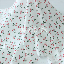 Childrens fabric Cotton Hemp Crepe Double Gauze Cherry Pajamas Fabric