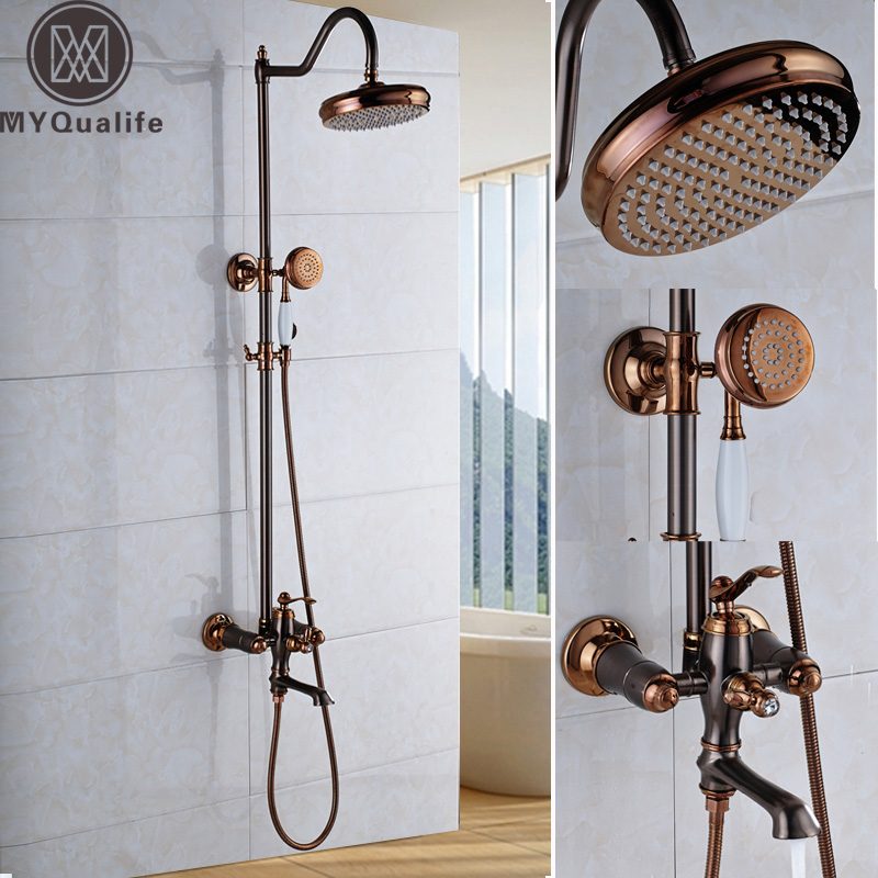 High Quality Oil Rubbed Bronze Bathroom Shower Faucet Kit Rose Golden Wall Mount Bath and Shower Mixers Rain 8 Shower Head oil rubbed bronze bathroom stand flat iron holder for hair dryer