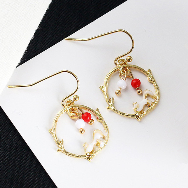 7fa2de1eb Gold Color Exquisite Squirrel Play Balls Earrings for Women New Design Cute  white red beads Fashion Earring Vintage Accessory