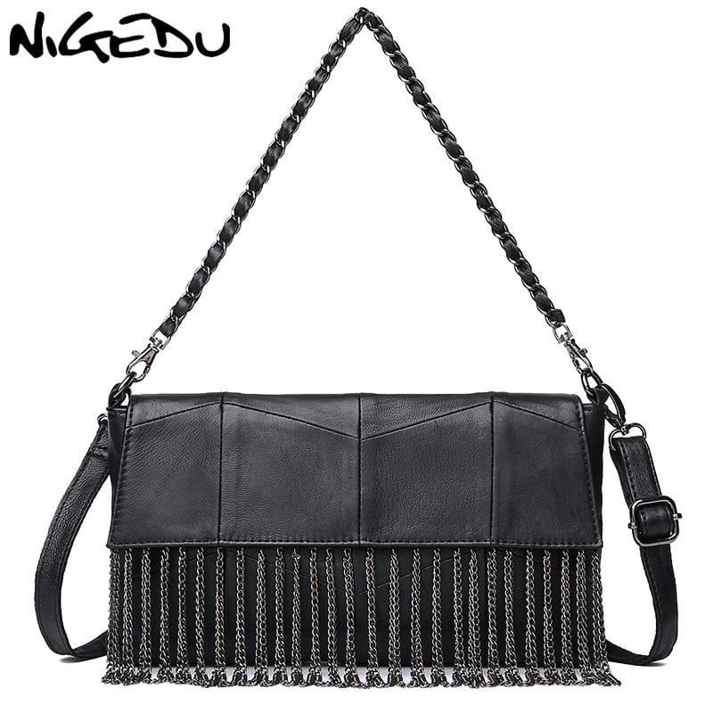 NIGEDU genuine leather bags for women Handbags brand design Patchwork Sheepskin Shoulder Bag Chain tassel Ladies Crossbody Bag cute bear print and tassel design crossbody bag for women