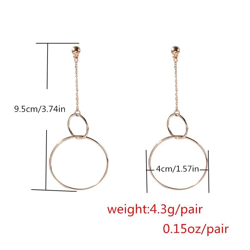 Double Circle dangle earrings 2018 fashion geometric earrings Women Big drop Earrings large earing vintage simple jewellery