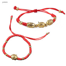 Fashion women Bracelets Girls Lucky Kabbalah Handmade Red String Braided Golden Pig Jewelry