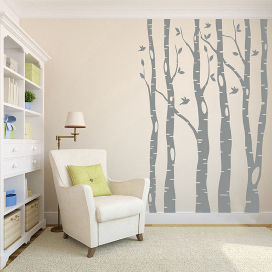 Extra large arbre stickers muraux décor à la maison, grand arbre et oiseaux vinyle decal stickers muraux pour la maison pour bébé décor de nurserie