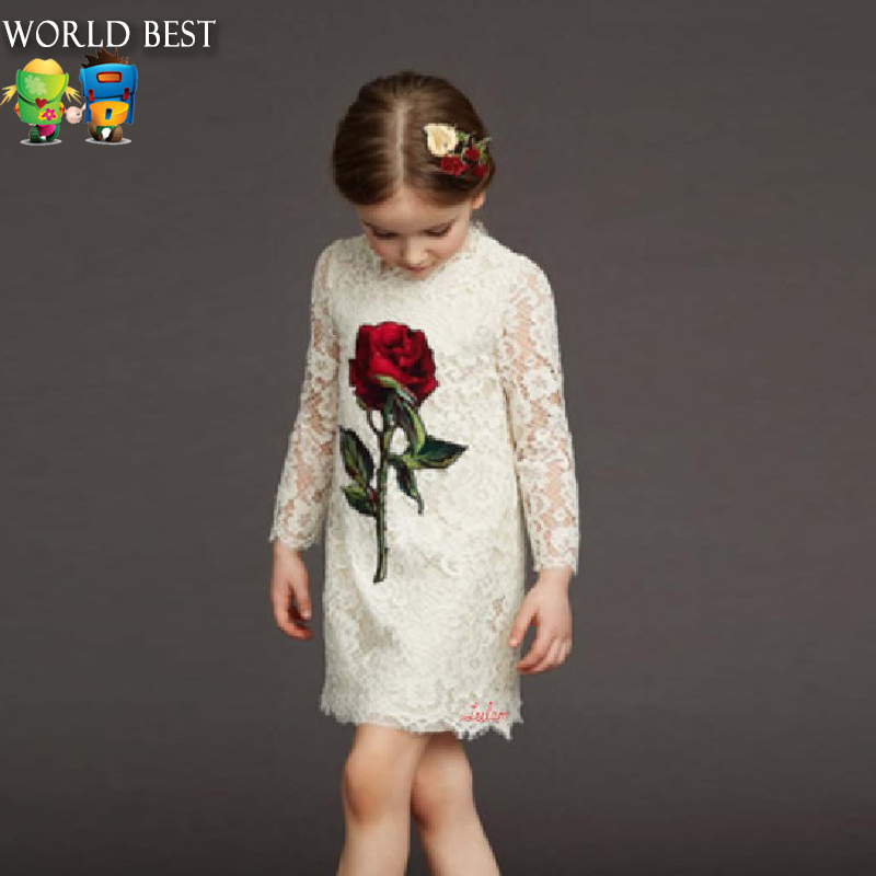 Girls Dresses Summer 2016 Girls Long-Sleeved Dress Europe Rose Girls Clothes Everything For Children Clothing And Accessories 2017 spring and summer fashion girls clothing europe and the united states wind dress long sleeved lace princess peng peng dress