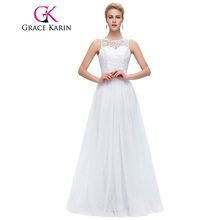 Grace Karin Lace Long Prom Dresses White Black Mint Green Prom Dress 2018  Sleeveless Floor Length 8e433f436004