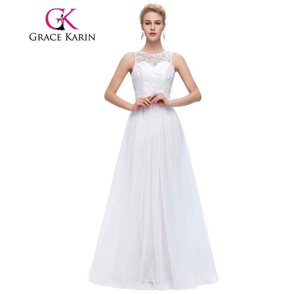 Grace Karin Lace Long Prom Dresses White Black Mint Green Prom Dress