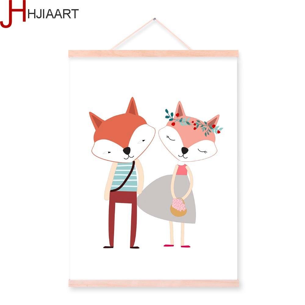 Lucu Kartun Hewan Rubah Beruang A4 Poster Nordic Anak Anak Bayi Room Dinding Seni Cetak Gambar Rumah Dekor Kanvas Lukisan Tidak Bingkai
