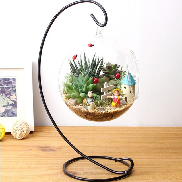 2017 Household Decor DIY Clear Round Ball Hydroponic Plant Flower Hanging  Glass Vase Container Home Garden