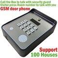 GSM sem fio Intercomunicador Do Telefone Da Porta de áudio e suporte 100 casa de alarme de segurança para a segurança da comunidade