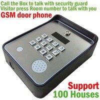 Kablosuz GSM ses Kapı Telefonu Interkom ve toplum güvenliği için güvenlik alarm destek 100 evi