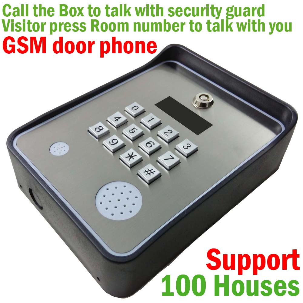 Wireless GSM audio Door Phone Intercom and security alarm for community security support 100 house цена