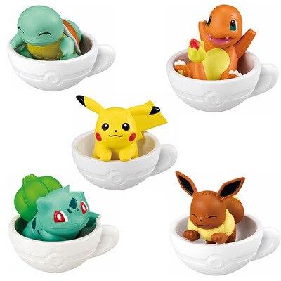 5pieces/set Cup figures pika Squirtle Bulbasaur anime action toy figures model toy Car decoration toy KEN HU STORE pks