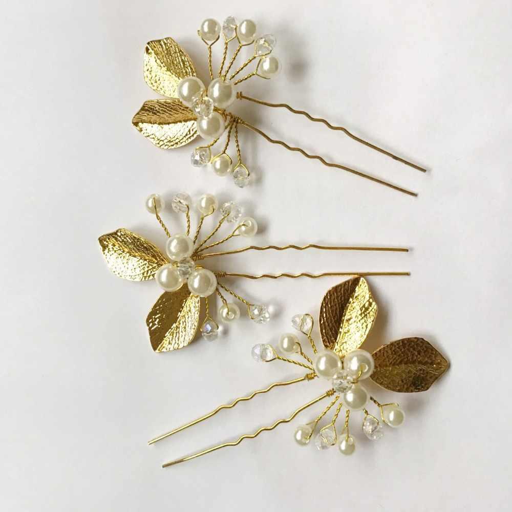 1 PC or peignes de mariée Cystal fleur mariage cheveux accessoires tiare épingles à cheveux cristal de mariée femmes décontracté épingles cheveux bijoux 2017