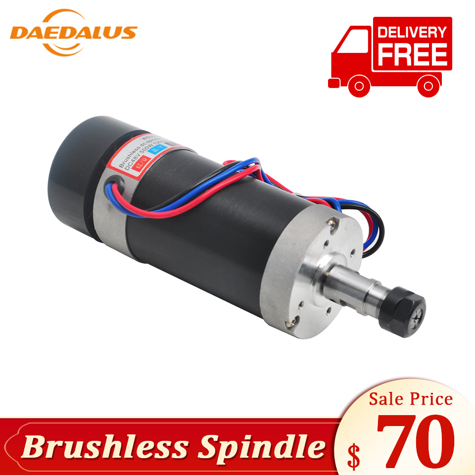 Daedalus 500W Brushless Air Cooled Spindle DC 48V Engraving Spindle Motor ER16 Collet for Mini Lathe