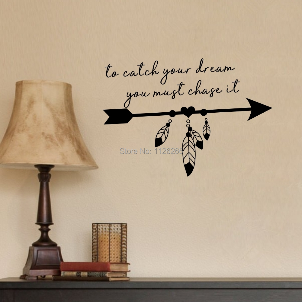 Wall Decals Quote To Catch Your Dream Vinyl Sticker Feather Arrow Boho Home Decor Wall Stickers Aliexpress