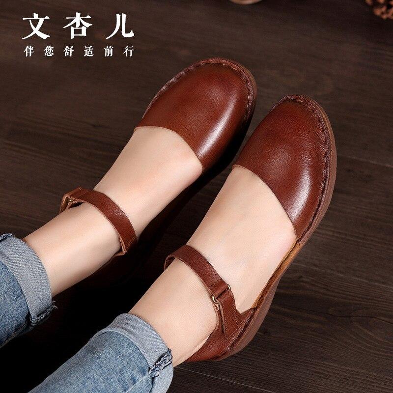 Zapato Planos de Vintage Pisos Las See Mujeres Manual Mocasines Zapatos Chart De Sandalias Casual Whensinger Genuino Cuero gI6qwdI