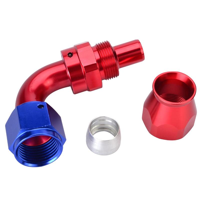 AN10 поворотный PTFE шланг концевой фитинг прямой 45 90 180 градусов для PTFE нефтяной топливной линии - Цвет: 90degree